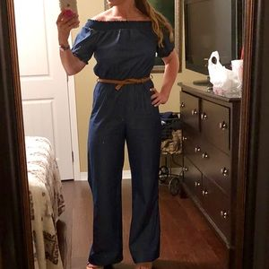 Other - Denim romper with belt. Worn once.